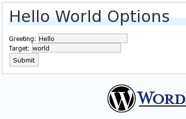 hello world options admin screen