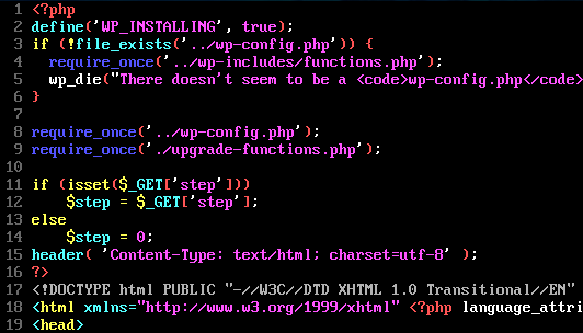 Top of install.php file